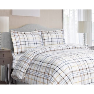 Modern Plaid 3-piece Flannel Duvet Cover Set