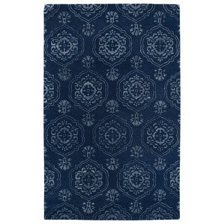 Hand-Tufted Ombre Navy Medallions Rug (5'0 x 7'9)
