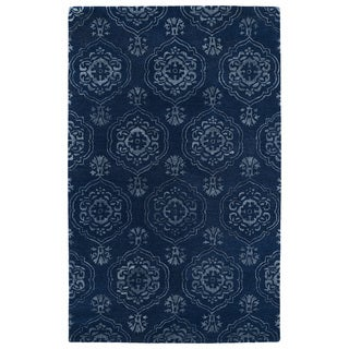 Hand-Tufted Ombre Navy Medallions Rug (9'6 x 13')