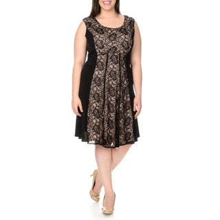 London Times Women's Plus-size Extended Sleeve Lace Stretch Dress