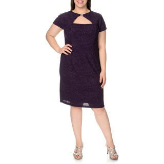 London Times Women's Plus-size Keyhole Neck Sparkle Stretch Shift Dress