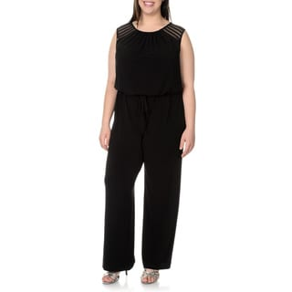London Times Women's Plus-size Mesh Blouson Jumpsuit