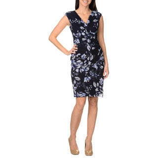 London Times Women's Floral Printed Drape Front Sheath Dress