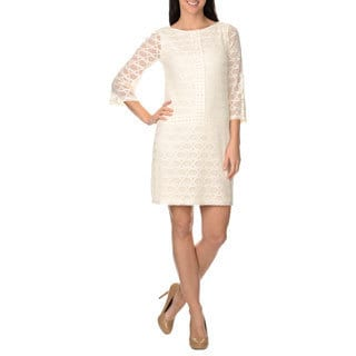 London Times Women's Lace Dot Shift Dress