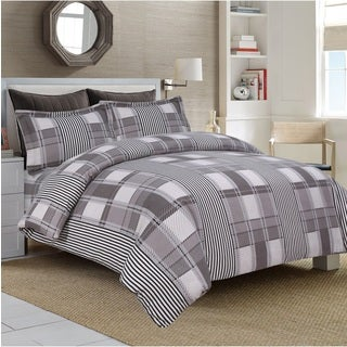 Modern Stripe 3-piece Flannel Duvet Cover Set