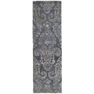 Hand-Tufted Ombre Grey Damask Rug (2'6 x 8')