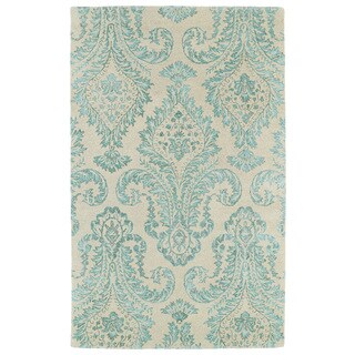 Hand-Tufted Ombre Turquoise Damask Rug (9'6 x 13')