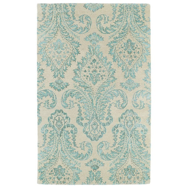 Hand-Tufted Ombre Turquoise Damask Rug (5'0 X 7'9
