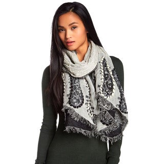 KC Signatures Embroidered Paisley Woolen Scarf