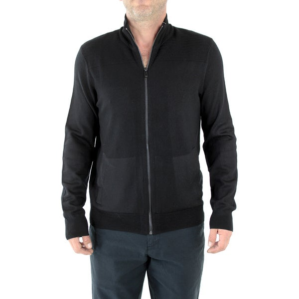 Calvin Klein Men's Sportswear Black Merino Wool Full-Zip Sweater