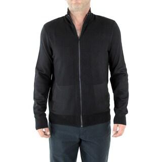 Calvin Klein Men's Sportswear Black Merino Wool Full-Zip Sweater