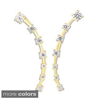 La Preciosa Sterling Silver Graduating Cubic Zirconia Curved Bar Ear Crawler Earrings