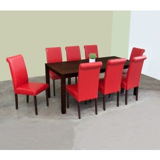Warehouse of Tiffany Jewel Red Leatherette 9-piece Dining Set