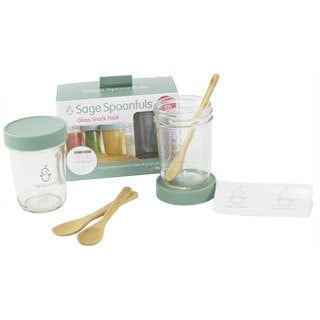 Sage Spoonfuls Glass Snack Pack with Bonus Bamboo Feeding Spoons