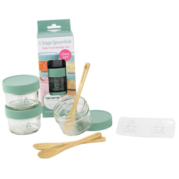 Sage Spoonfuls Glass Mini Storage Pack with Feeding Spoons