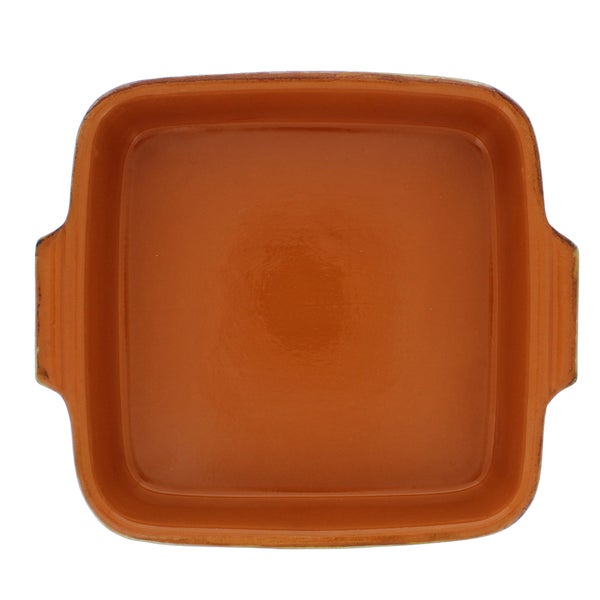 French Home Italian Stoneware 1-quart Square Saffron Baking Dish