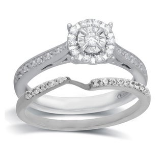 Bridal Symphony 10k White Gold 1/4ct TDW Diamond Bridal Ring Set (I-J, I2-I3)