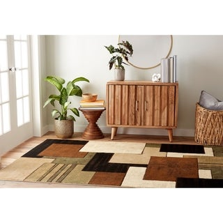 """Home Dynamix Tribeca Collection Brown-Green (5'2"""" X 7'2"""") Machine Made Polypropylene Area Rug"""