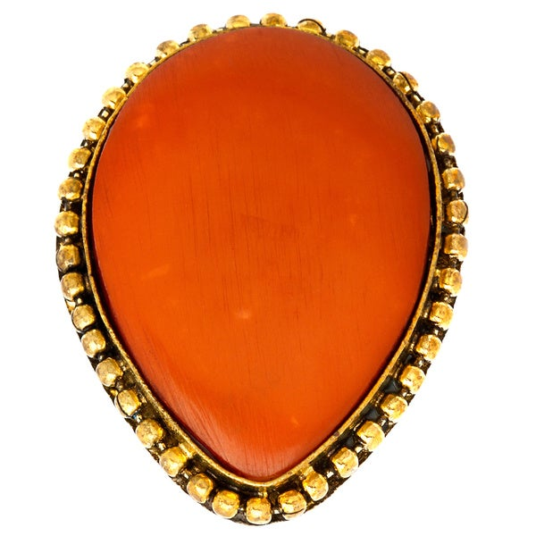 Saira Faux Coral Stone Adjustable Ring (India)