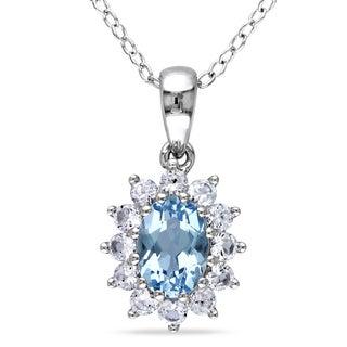 Miadora Sterling Silver Aquamarine Created White Sapphire Necklace