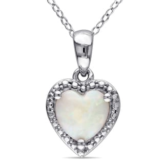 Miadora Sterling Silver Opal Heart Necklace