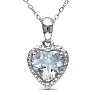 Miadora Sterling Silver Aquamarine Heart Necklace