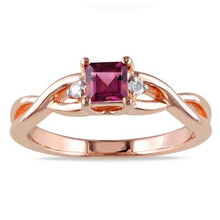 Miadora Rose Goldplated Silver Pink Tourmaline Diamond Accent Ring