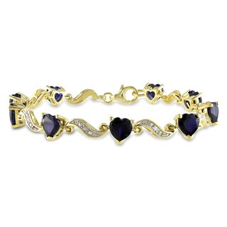 Miadora Yellow Goldplated Silver Sapphire and Diamond Accent Bracelet