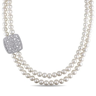 Miadora Sterling Silver Freshwater Pearl Cubic Zirconia Necklace (8-9 mm)
