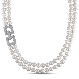 Miadora Silver Cultured Freshwater Pearl and Cubic Zirconia Necklace (8-9 mm)