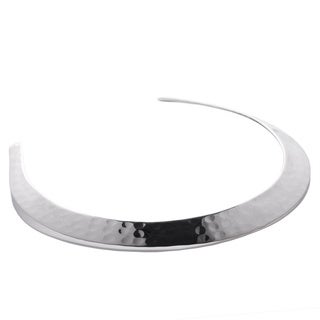 Sitara Collections Silvertone Hammered Metal Collar Necklace (India)