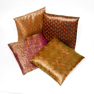 Set of 4 Brocade Pattern Square Cushion Covers (India)