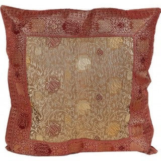 Sitara Collections Red and Beige Brocade Flowers Banarasi Square Cushion Cover (India)