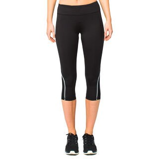 Lija Women's Black Mesh Panel Capri Pants