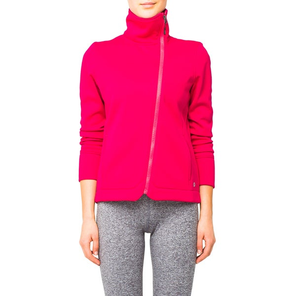 Lija Women's Crimson Asymmetrical Zip Jacket