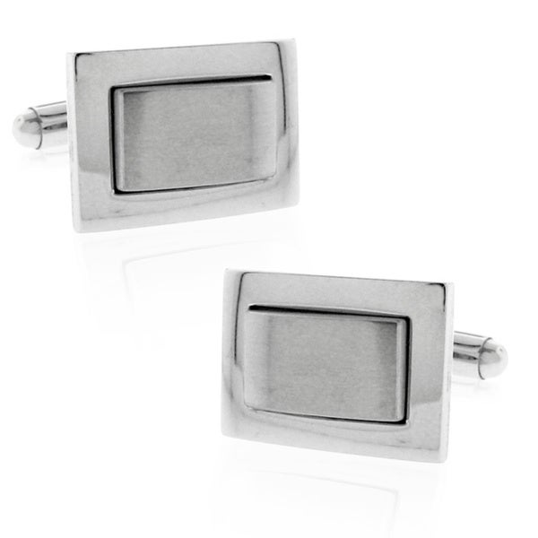 Silvertone Stainless Steel Multi-finish Rectangle Cufflinks