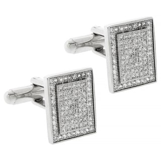 Silvertone Pave Cubic Zirconia Rectangle Cufflinks