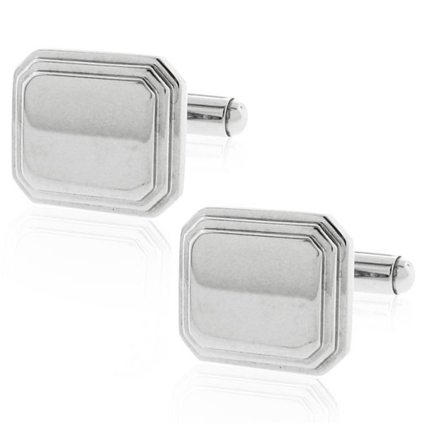 Silvertone Stainless Steel High Polish Finish Pillow Cufflinks