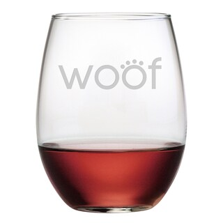 Woof 21-ounce Stemless Wine Glasses (Set of 4)