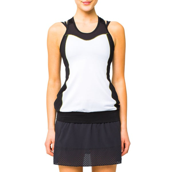 Lija Women's Run Racer White and Black Tank Top