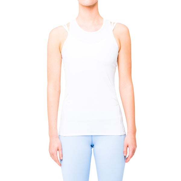 Lija Women's Side Gathered White Tank Top