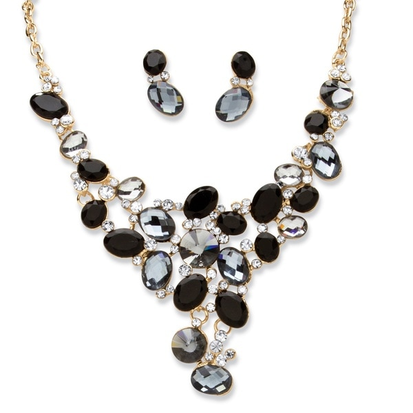 PalmBeach Black Monochrome Crystal Bib Necklace and Earring Set
