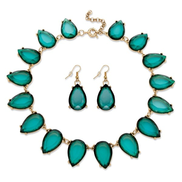 PalmBeach Teal Teardrop Necklace and Earring Set