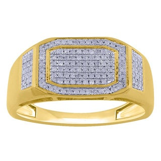 10k Yellow Gold Men's 1/3ct TDW Diamond Pave Ring (G-H, I2-I3)