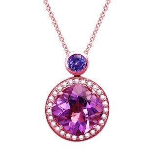 Beverly Hills Charm 14k Rose Gold Tanzanite, Amethyst and 1/5ct TDW Diamond Necklace (H-I, SI2-I1)
