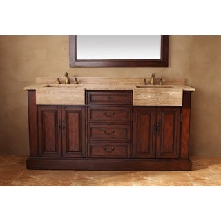 Boston 72-inch Cherry Double Travertine Top Vanity
