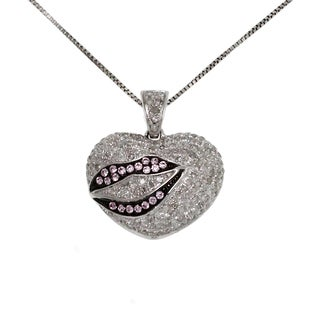 10k White Gold 4/5ct TDW White and Pink Diamond Heart and Lips Necklace (G-H, I2-I3)