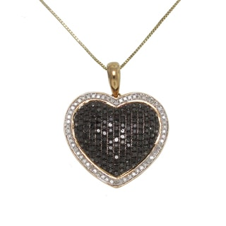 10k Yellow Gold 7/8ct TDW White and Black Diamond Heart Necklace (G-H, I1-I2)