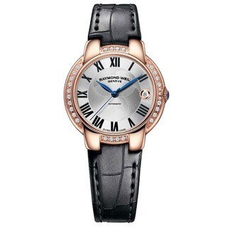 "Raymond Weil Women's 2935-PCS-01659 ""Jasmine"" Automatic Silver Dial Aligator Leather Watch"