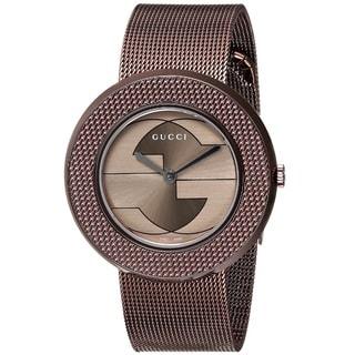 Gucci Women's YA129445 'U-Play' Swiss Quartz Brown Stainless Steel Mesh Watch